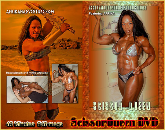 Ebony Amazon Afrika's mixed wrestling scissor vixen DVD.
